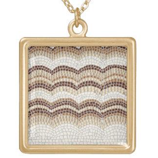 Beige Mosaic Large Square Necklace