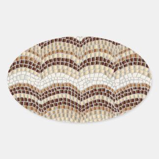 Beige Mosaic Matte Oval Sticker