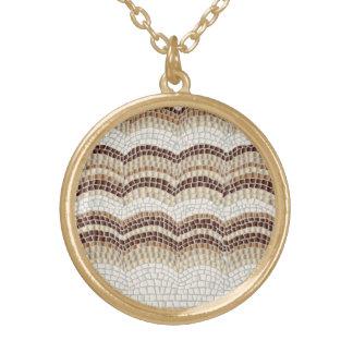 Beige Mosaic Medium Round Necklace