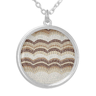 Beige Mosaic Medium Round Necklace
