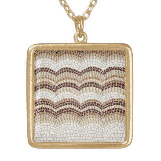 Beige Mosaic Medium Square Necklace