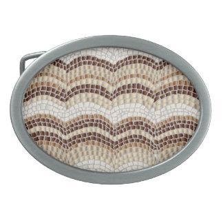 Beige Mosaic Oval Belt Buckle