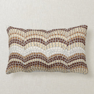 Beige Mosaic Polyester Lumbar Throw Pillow