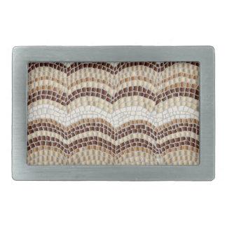 Beige Mosaic Rectangle Belt Buckle