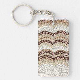 Beige Mosaic Rectangle Single-Sided Keychain