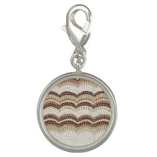 Beige Mosaic Round Charm