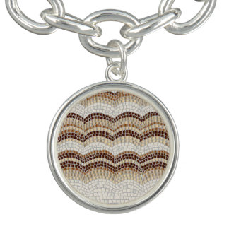 Beige Mosaic Round Charm Bracelet