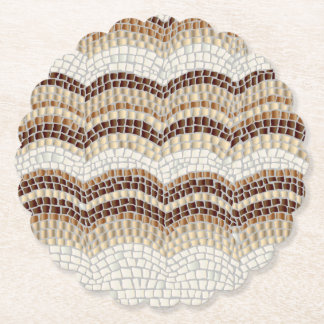 Beige Mosaic Scalloped Round Coaster