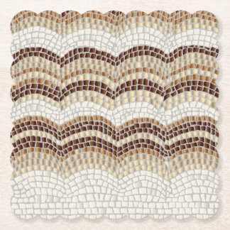 Beige Mosaic Scalloped Square Coaster