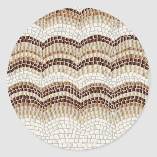 Beige Mosaic Small Matte Round Sticker