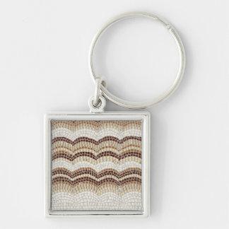 Beige Mosaic Small Premium Square Keychain