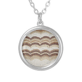 Beige Mosaic Small Round Necklace