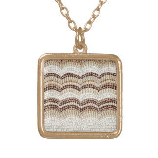 Beige Mosaic Small Square Necklace