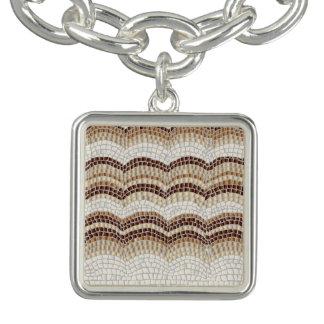 Beige Mosaic Square Charm Bracelet