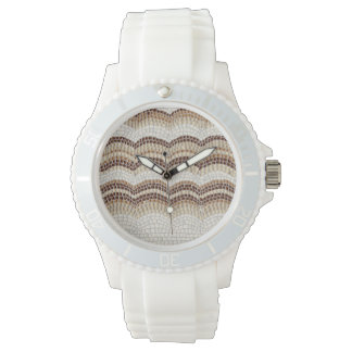 Beige Mosaic Women's Sporty Silicon Watch