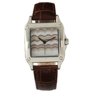 Beige Mosaic Women's Square Brown Leather Watch