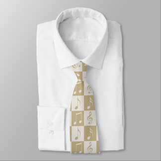 Beige Musical Checker Pattern Tie