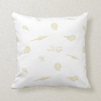 Beige Nautical Seashells and Starfish Pillow
