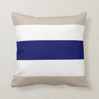Beige Navy Blue & White Stripe Couch Pillow Gift