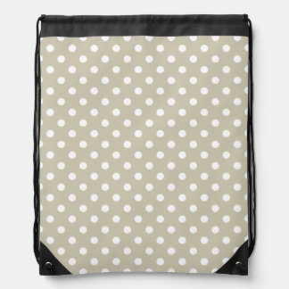Beige Neutral Polka Dots Retro Vintage Preppy Drawstring Bag