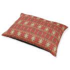 Beige Orange Red Brown Eclectic Ethnic Pattern Art Pet Bed