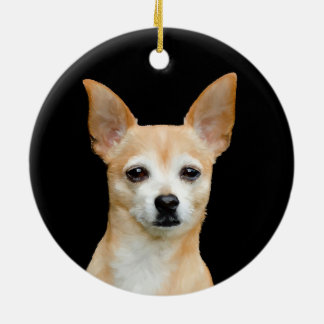 Beige painted chihuahua on black background christmas ornament