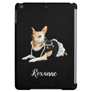 Beige painted glam chihuahua on black background case for iPad air