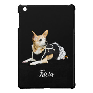 Beige painted glam chihuahua on black background cover for the iPad mini