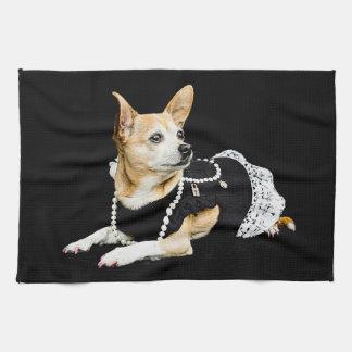 Beige painted glam chihuahua on black background tea towel