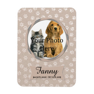 Beige Paw Prints Memorial for Cat or Dog Rectangular Photo Magnet