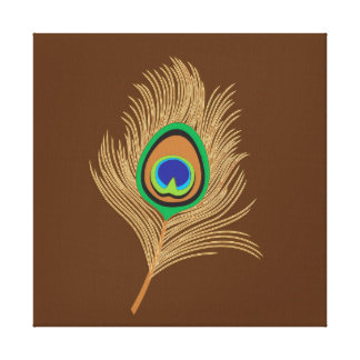 Beige Peacock Feather on Chocolate Brown Canvas Print