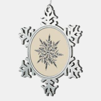 Beige & Pewter Snowflake Ornament