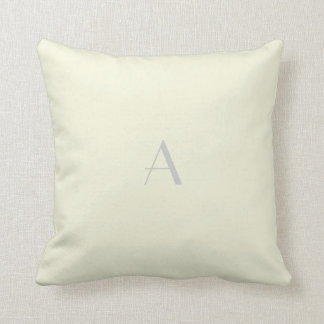 Beige Pillow w Silver Monogram