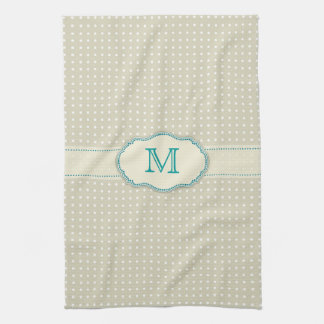 Beige Polkadot Pattern-Monogram Tea Towel