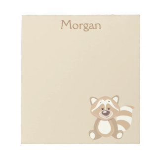Beige Raccoon Graphic Personalize Notepad