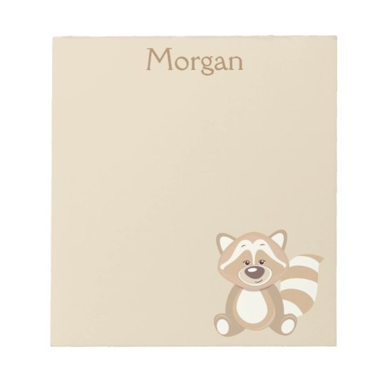 Beige Racoon Graphic Personalise Notepad