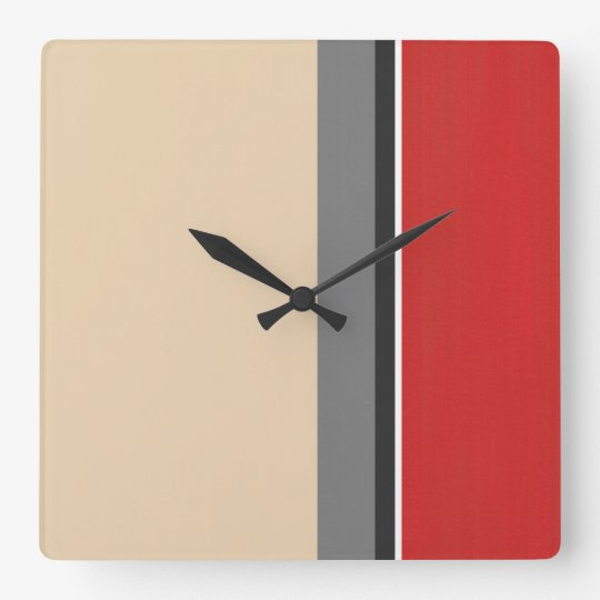 Beige Red Grey Black White Modern Square Wall