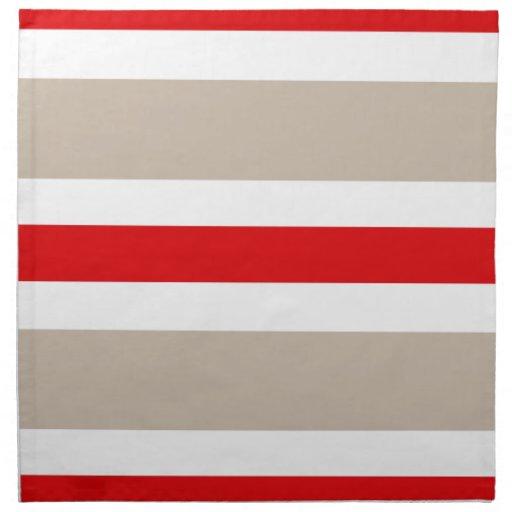 Beige Red & White Stripe Cloth Dinner Napkin