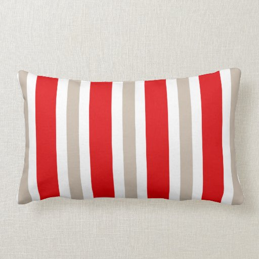 Beige Red & White Stripe Pillow Gift