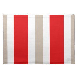 Beige Red & White Stripe Placemat Gift