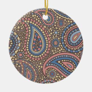 Beige Rose Paisley Round Ceramic Decoration