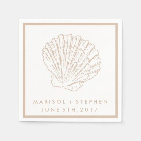 Beige Seashell Beach Wedding Personalised Napkins Paper Napkin