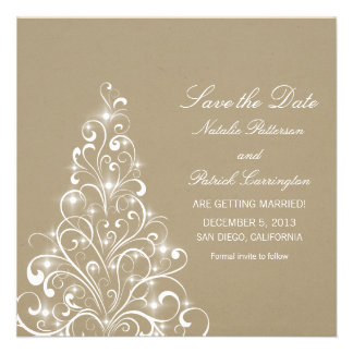 Beige Sparkly Holiday Tree Save the Date Invite