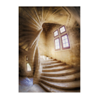 Beige spirl staircase, France Acrylic Wall Art