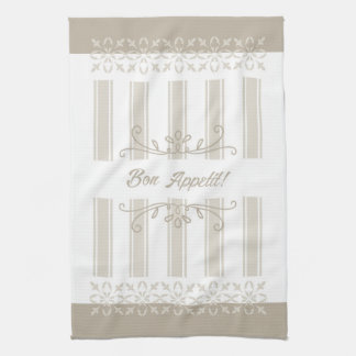 Beige striped french inspired bon appetit tea kitchen towel