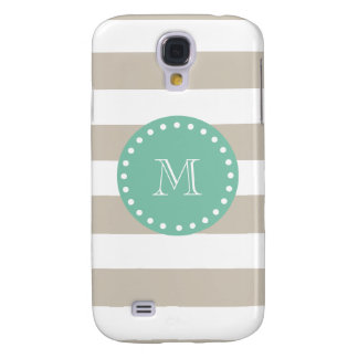Beige Stripes Pattern, Mint Green Monogram Galaxy S4 Case