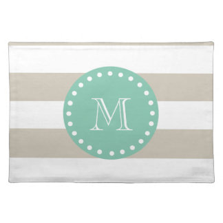 Beige Stripes Pattern, Mint Green Monogram Placemat