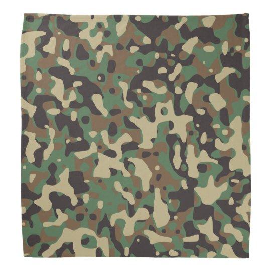 Beige, Tan Brown, Green, Grey Woodland Camouflage Bandana