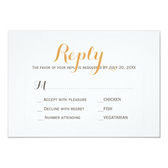 Beige tan simple wedding response meal choice RSVP