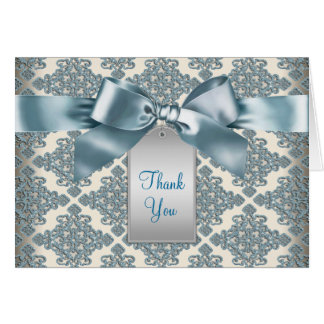 Beige Teal Blue Damask Thank You Cards